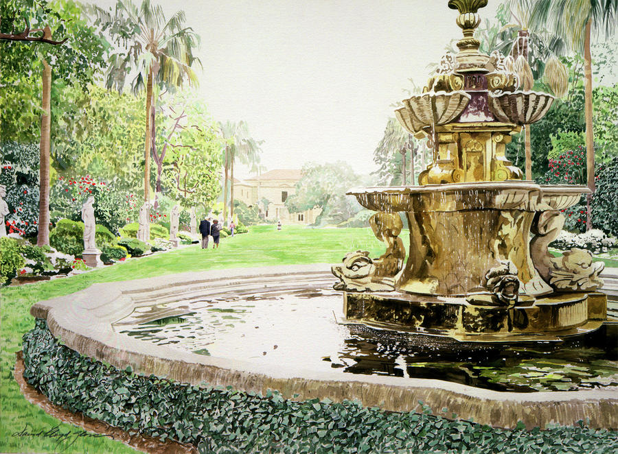 Huntington Fountain Morning Mist Painting  - Huntington Fountain Morning Mist Fine Art Print