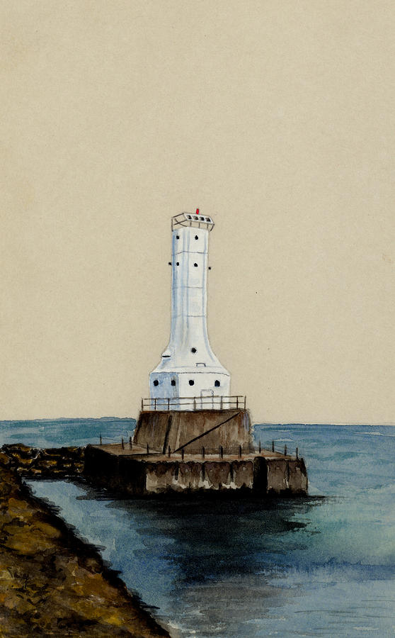 Huron Harbor Lighthouse Painting  - Huron Harbor Lighthouse Fine Art Print