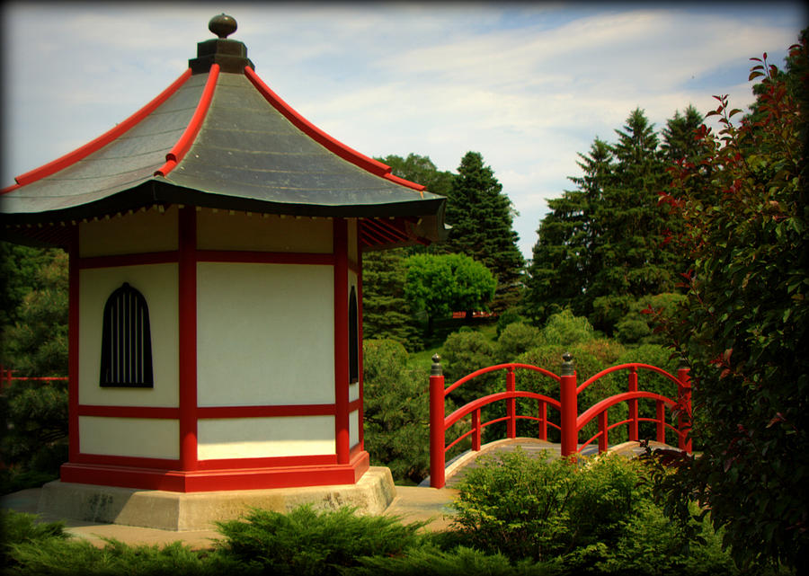 Hut and bridge in japanese garden photograph by tam graff for Garden huts for sale