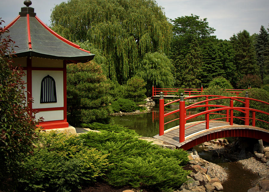 Hut and bridges in japanese garden photograph by tam graff for Garden hut sale