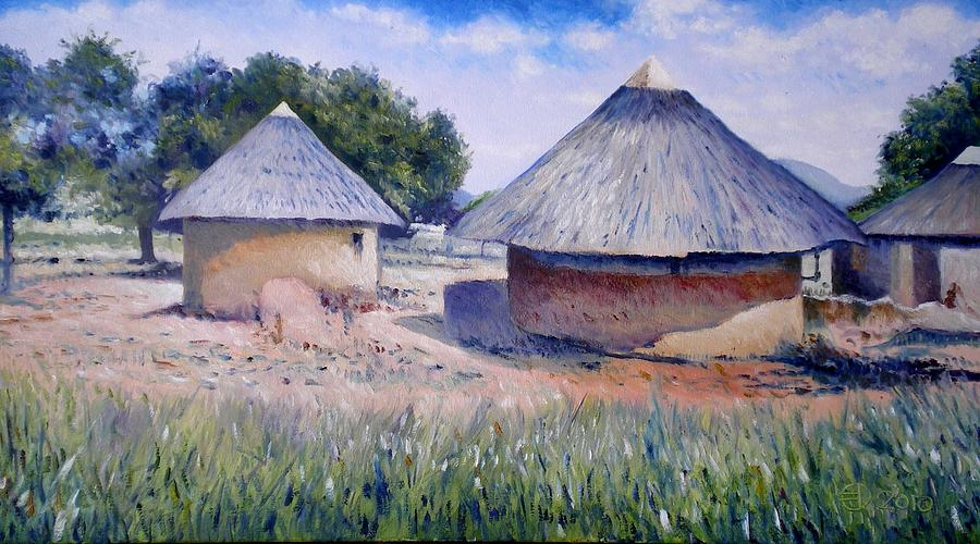 Huts At Pelegano Botswana 2008 Painting