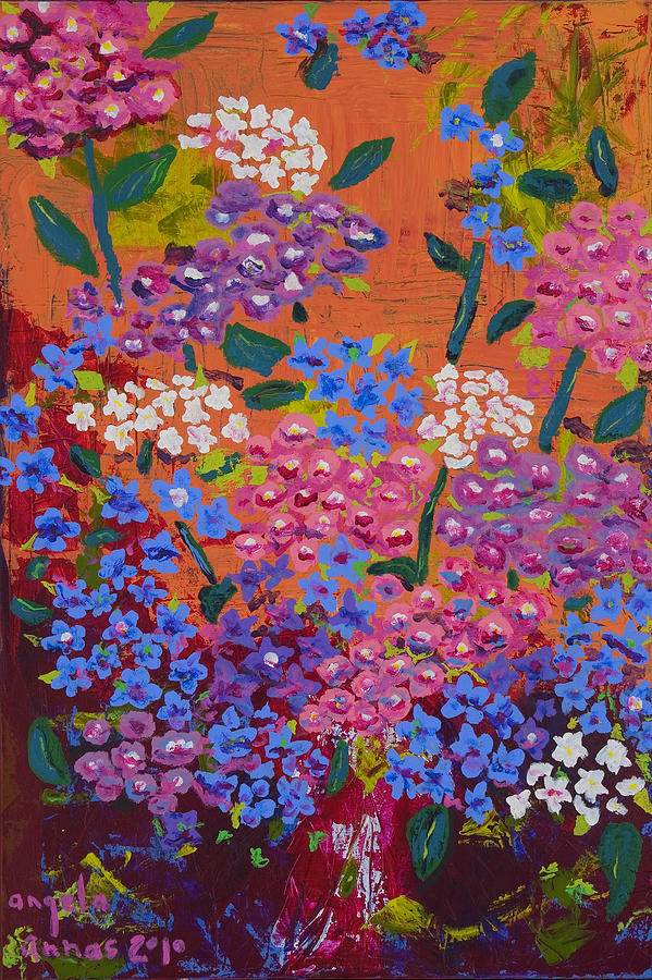 Hydrangea Collage Painting  - Hydrangea Collage Fine Art Print