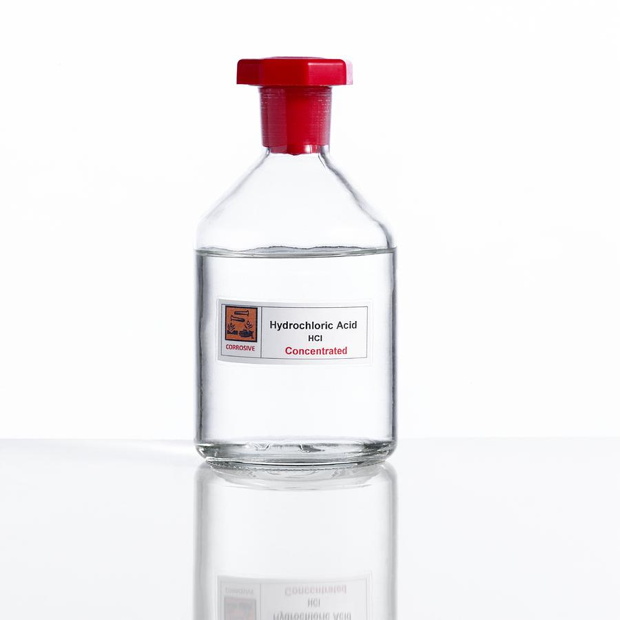 Hydrochloric Acid, Laboratory Bottle Photograph By