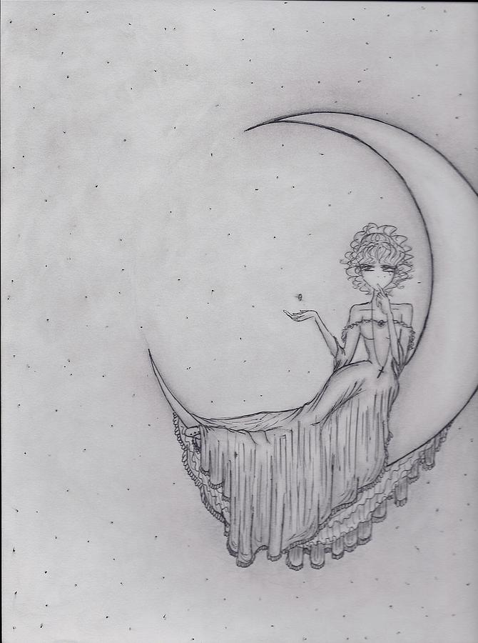 I Am The Crescent Moon Drawing by Abdiellisse Almodovar