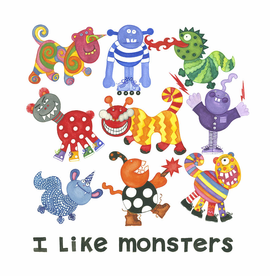 Monsters Painting - I Like Monsters by Barbara Esposito