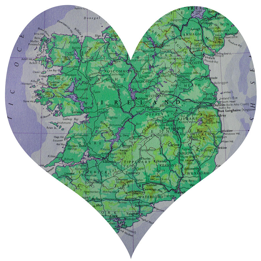 I Love Ireland Heart Map Photograph  - I Love Ireland Heart Map Fine Art Print