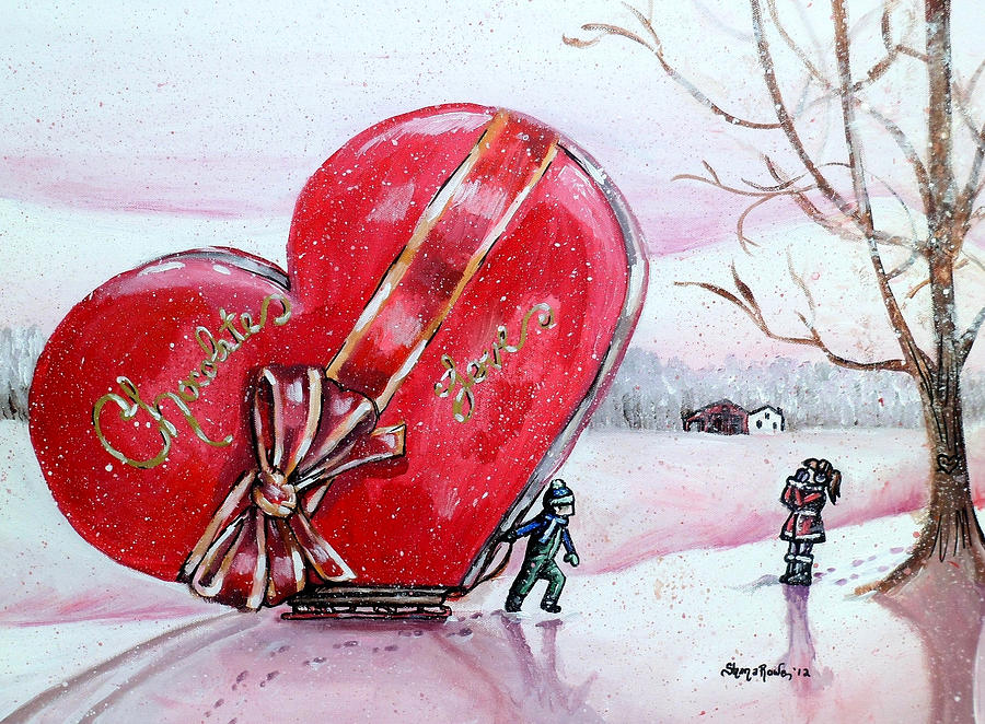 Heart Painting - I Love You Thiiis Much by Shana Rowe Jackson