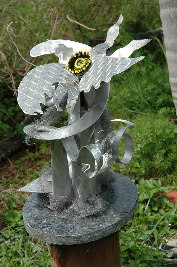 Eco-artist Vince Anthony Created A Unique Freestanding Multimedia Garden Sculpture Made From Aluminum Sculpture - Icarus by Vince Anthony