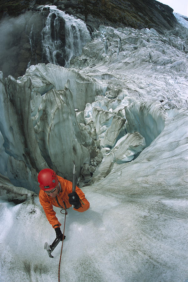 Ice Climber On Steep Ice In Fox Glacier Photograph  - Ice Climber On Steep Ice In Fox Glacier Fine Art Print
