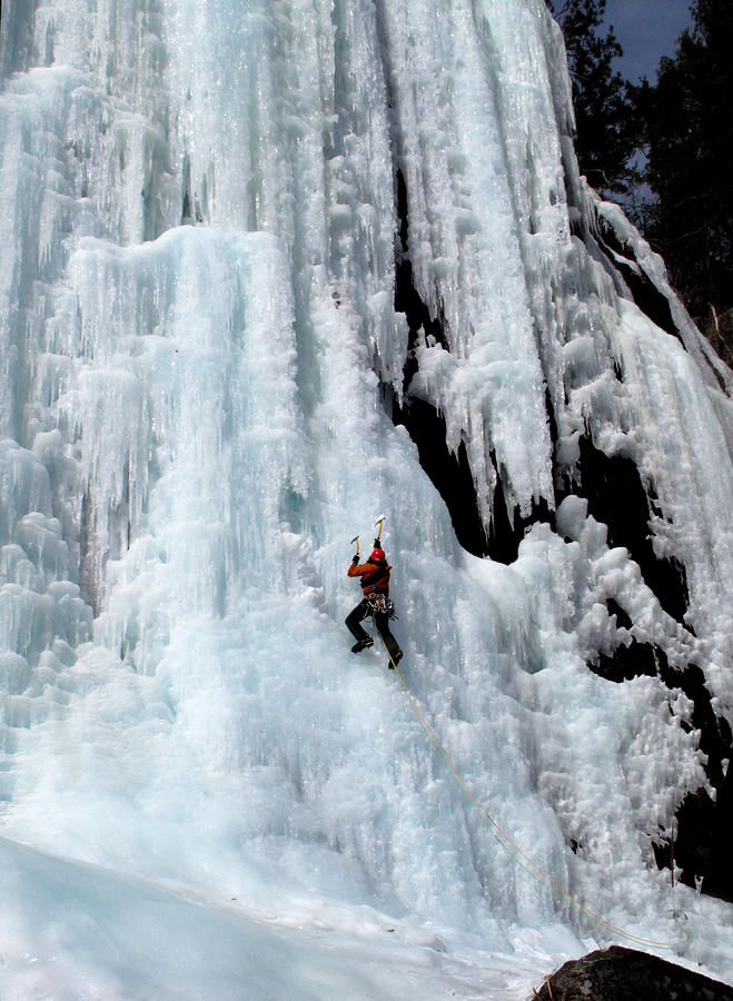 Ice Climbing In The Adirondack Mountains Of New York At Pok-o-moonshine Cliff Photograph