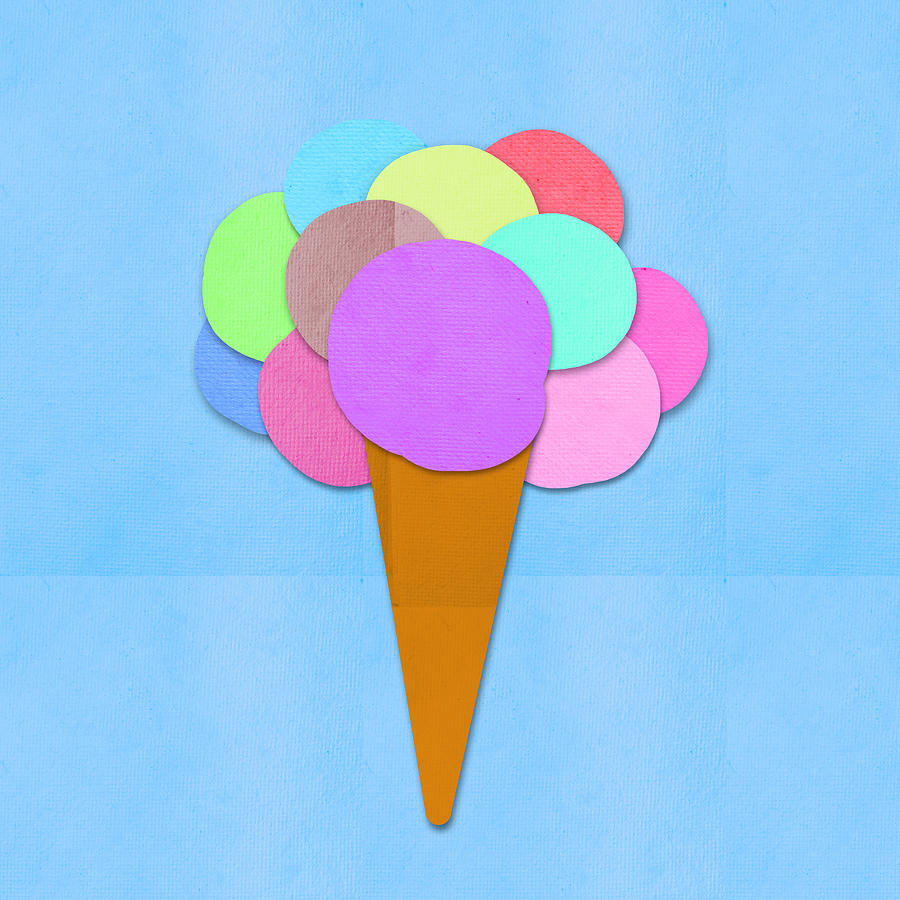 Ice Cream On Hand Made Paper Digital Art  - Ice Cream On Hand Made Paper Fine Art Print