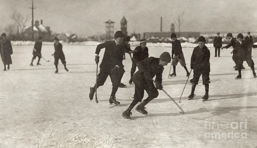 Ice Hockey 1912 Photograph  - Ice Hockey 1912 Fine Art Print