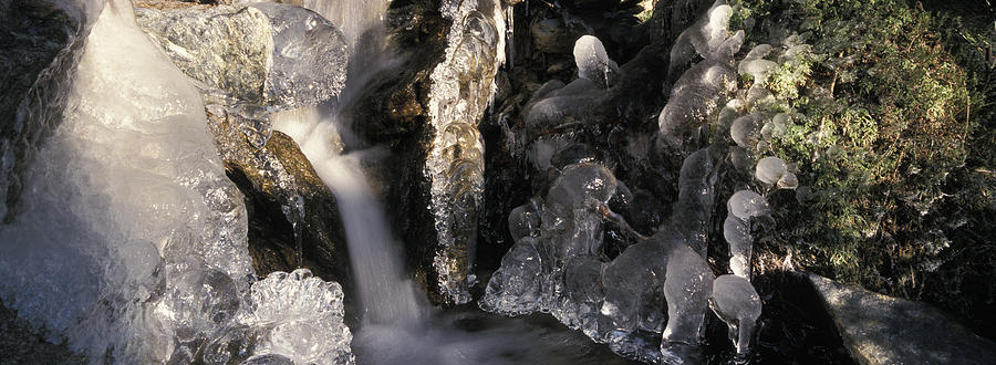 Ice Is Enrusting A Waterfall Photograph