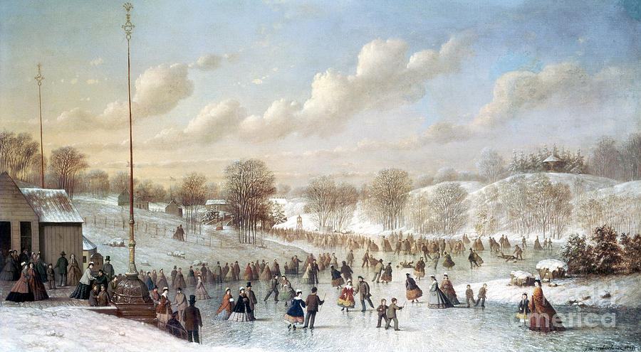 Ice Skating, 1865 Painting  - Ice Skating, 1865 Fine Art Print