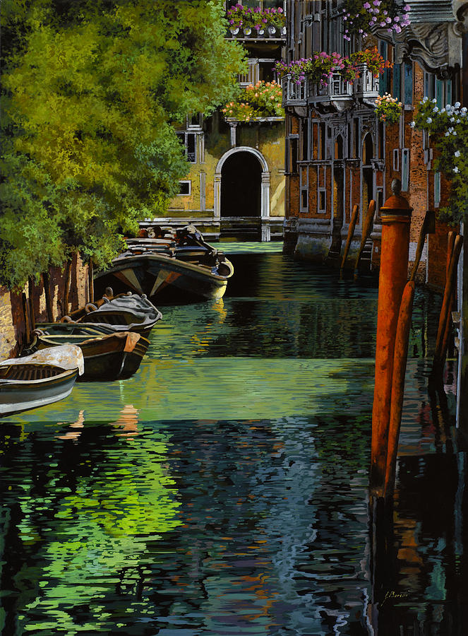 il palo rosso a Venezia Painting  - il palo rosso a Venezia Fine Art Print