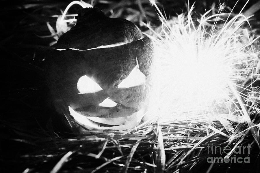 Illuminated Halloween Turnip Jack-o-lantern With Sparkler To Ward Off Evil Spirits Photograph