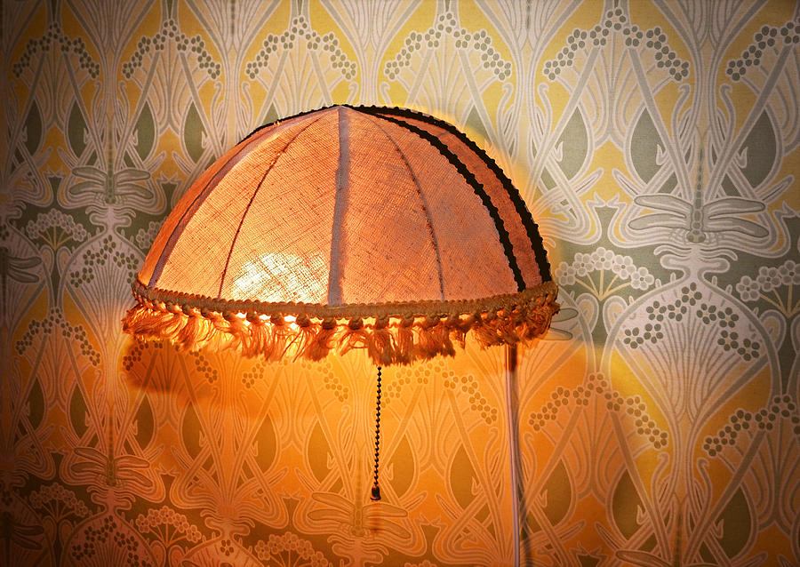 A Vintage Bedside Fabric Lamp On Wallpaper. Photograph - Illumination by Susan Leggett