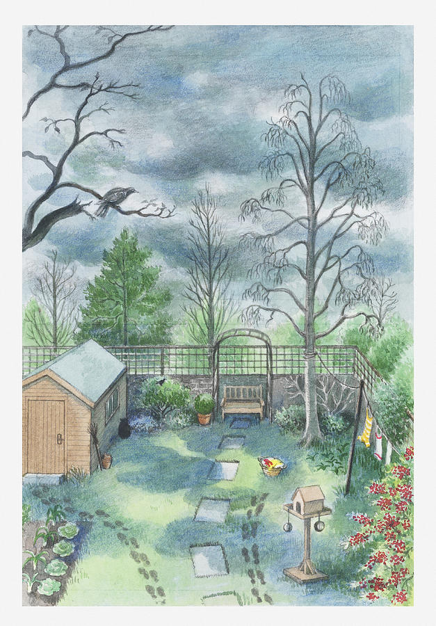 Illustration Of A Dark Clouds Over A Garden Digital Art