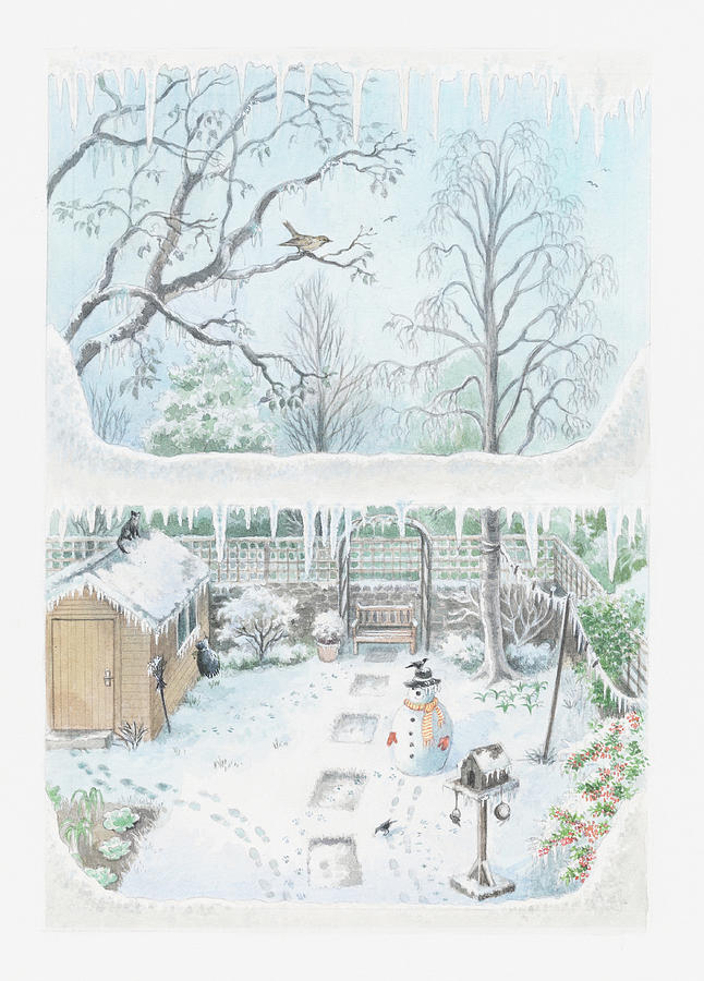 Illustration Of A Garden In Winter Seen Through A Window Digital Art  - Illustration Of A Garden In Winter Seen Through A Window Fine Art Print