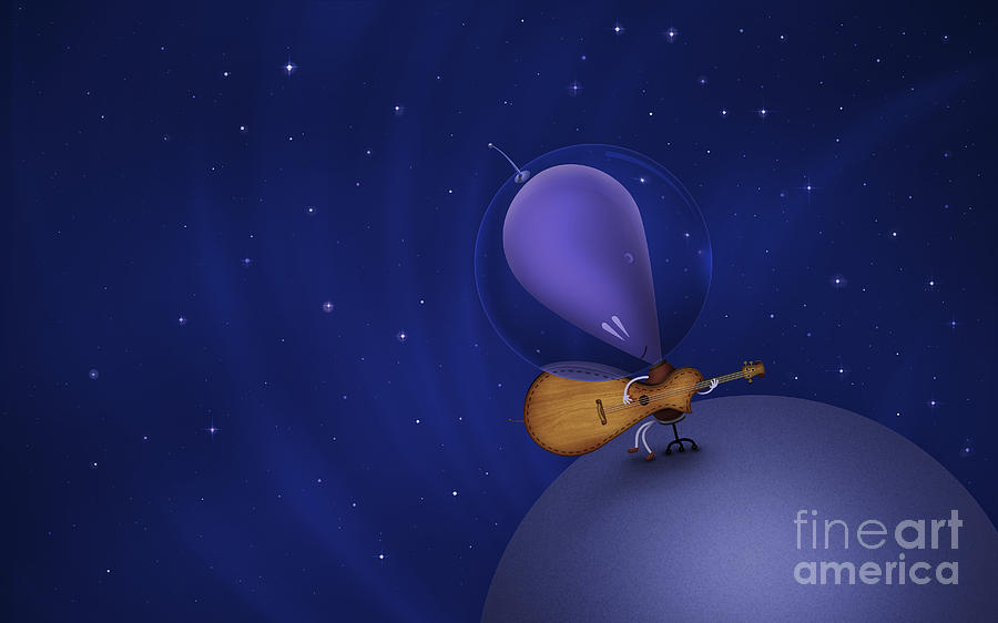 Illustration Of A Martian Playing Digital Art  - Illustration Of A Martian Playing Fine Art Print