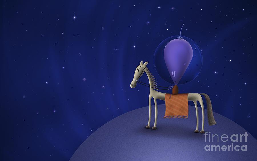 Illustration Of A Martian Riding Digital Art
