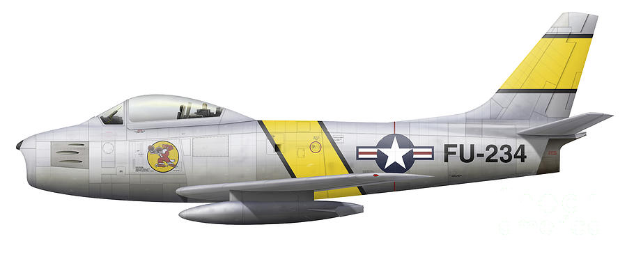 Illustration Of A North American F-86f Digital Art