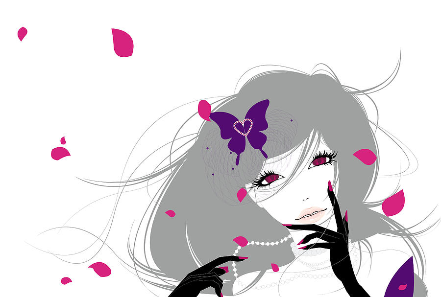 Illustration Of A Young Woman With A Purple Butterfly In Her Hair Surrounded By Pink Flower Petals Digital Art
