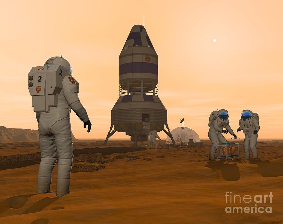 Illustration Of Astronauts Setting Digital Art
