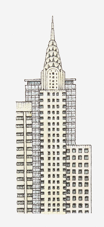 Illustration Of Chrysler Building, New York City Digital Art  - Illustration Of Chrysler Building, New York City Fine Art Print