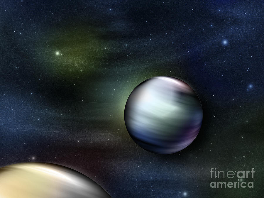 Illustration Of Planets In Outer Space Digital Art  - Illustration Of Planets In Outer Space Fine Art Print