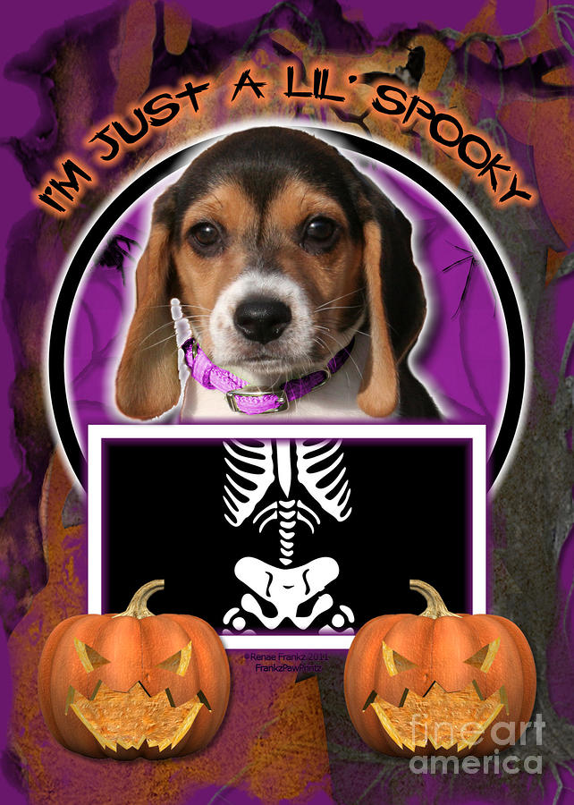 Im Just A Lil Spooky Beagle Puppy Digital Art  - Im Just A Lil Spooky Beagle Puppy Fine Art Print