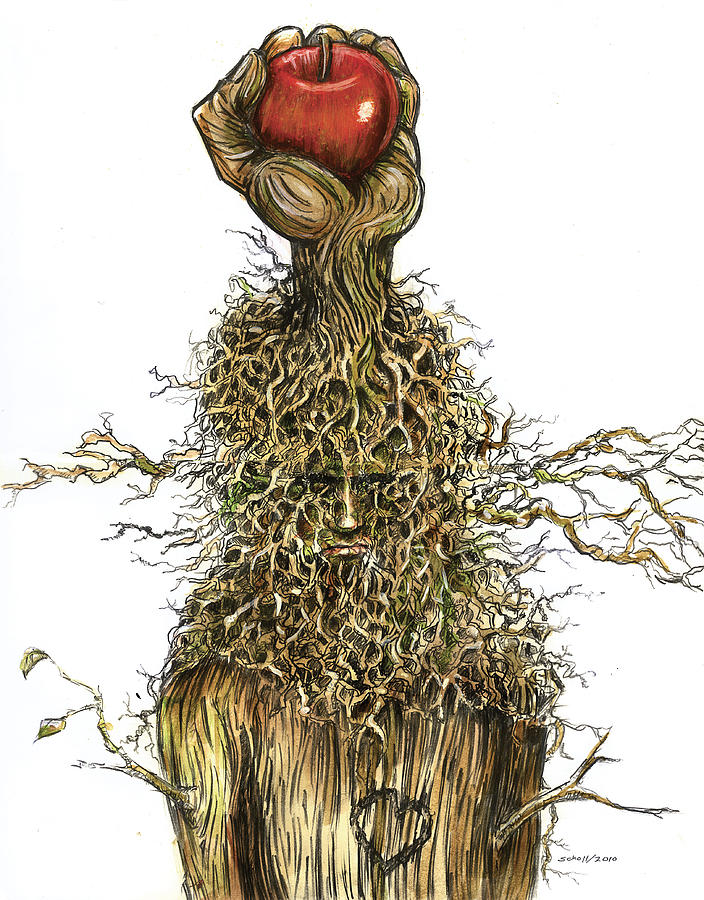 Hand Tree Roots Apple Last Breath Effort Branches Face Drawing - Im Not Finished... I Have So Much More To Give. by Michael Scholl