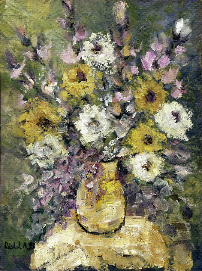 Impression Of Flowers Bouquet Yellow Vase On White Table Purple Flowers Green Background Stained   Painting