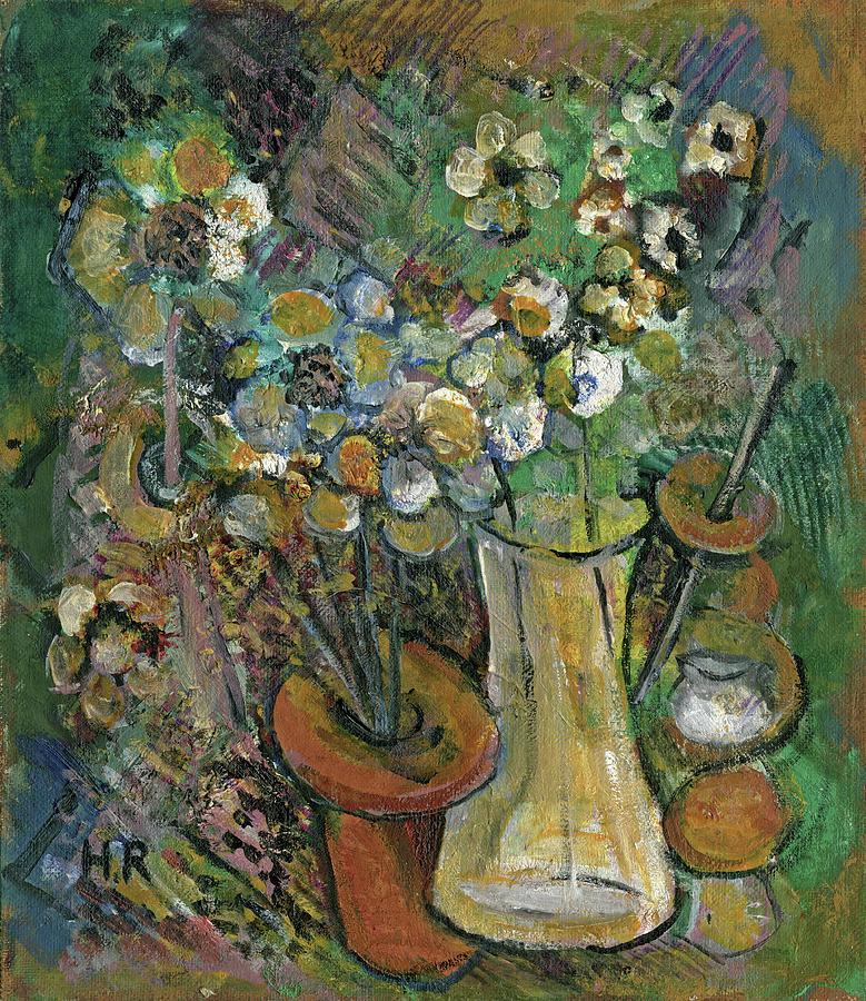 Impression Painting - Impression Of Flowers Vase by Rachel Hershkovitz