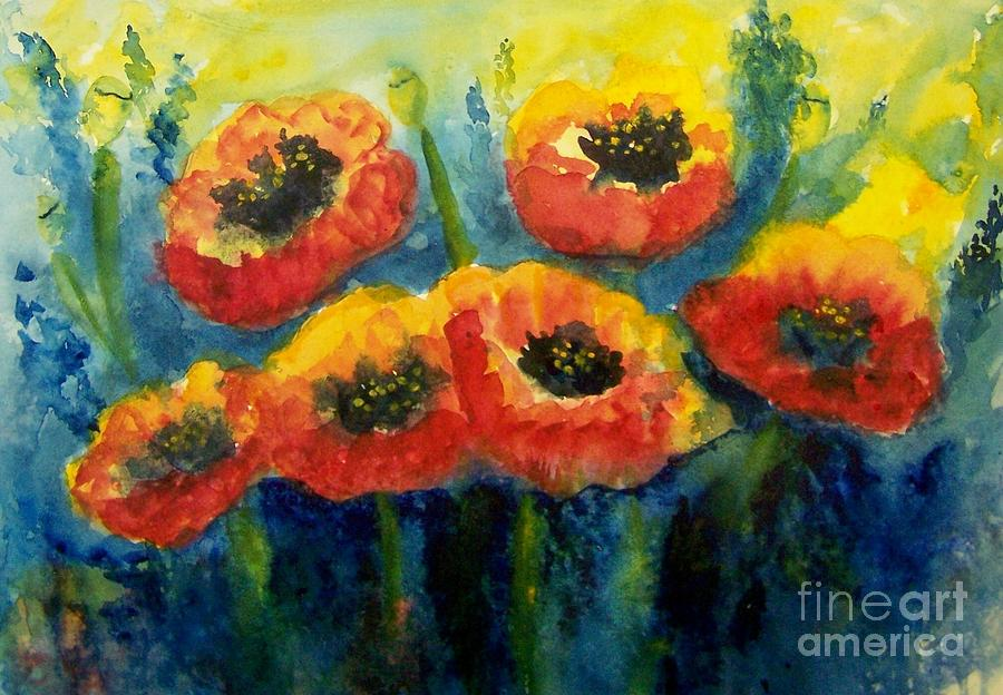 Impression Of Poppies Painting  - Impression Of Poppies Fine Art Print
