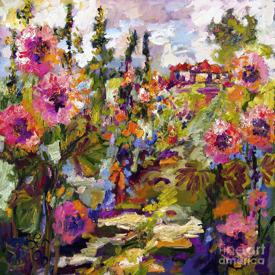 Impressionist Garden Path And Hollyhock Painting  - Impressionist Garden Path And Hollyhock Fine Art Print