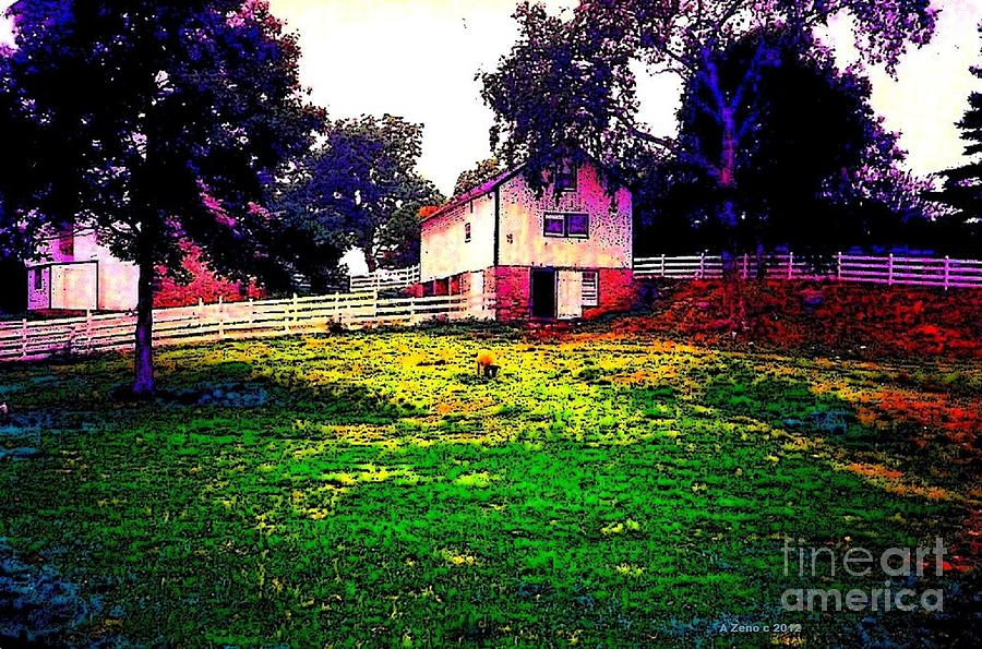 Impressionistic Amish Farm With A Sheep Photograph  - Impressionistic Amish Farm With A Sheep Fine Art Print