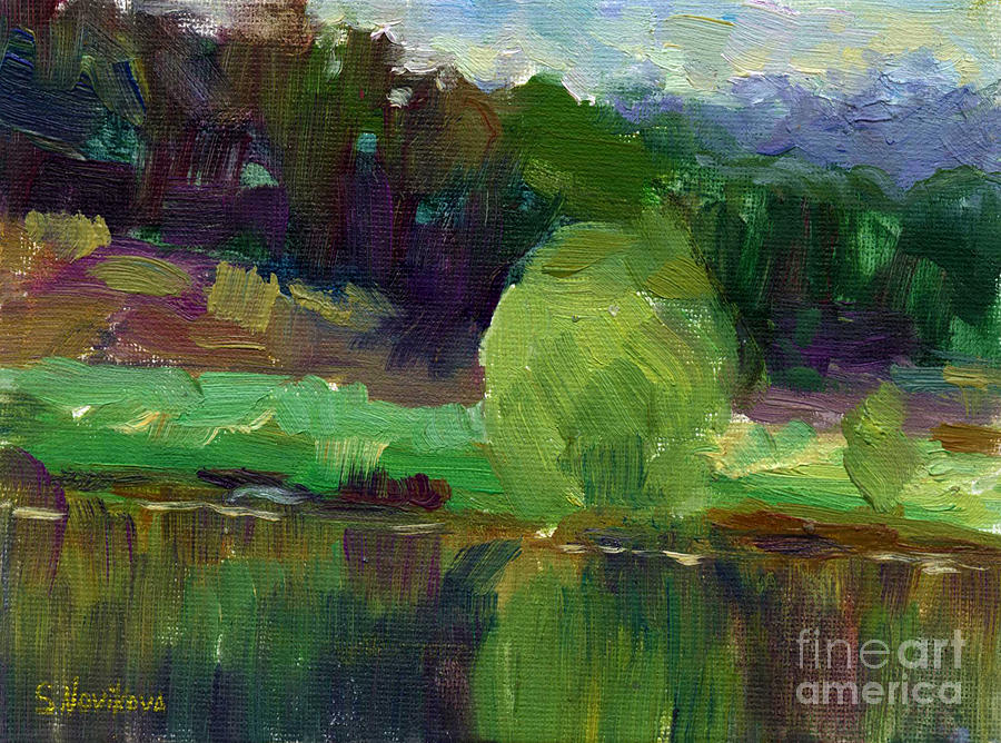 Impressionistic Oil Landscape Lake Painting Painting