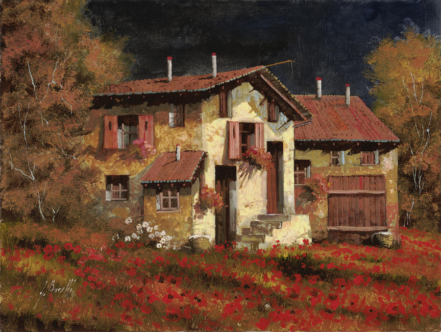 In Campagna La Sera Painting