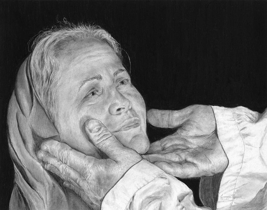 In His Hands Drawing  - In His Hands Fine Art Print