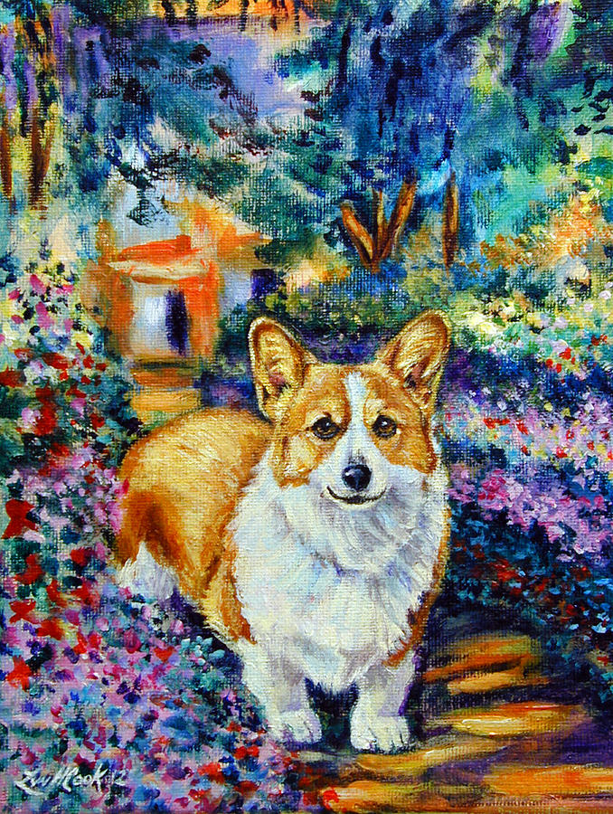 In Monets Garden - Pembroke Welsh Corgi Painting