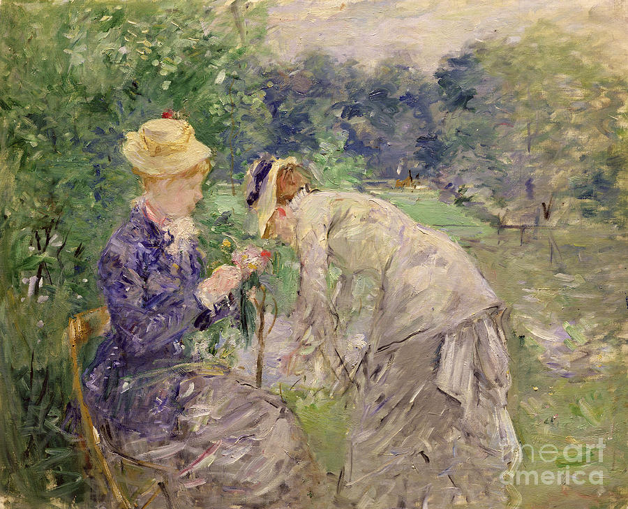 In The Bois De Boulogne (oil On Canvas) By Berthe Morisot (1841-95) Painting - In The Bois De Boulogne by Berthe Morisot