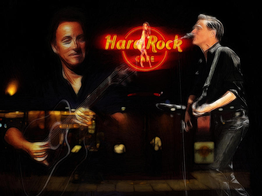Bruce Springsteen Bryan Adams Hard Rock Cafe Oil Painting Famous Star Stars Musican Music  Concert  Painting - In The Hard Rock Cafe by Steve K