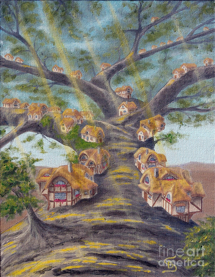 Tinny Cottages Painting - In The Lorn Tree From Arboregal by Dumitru Sandru