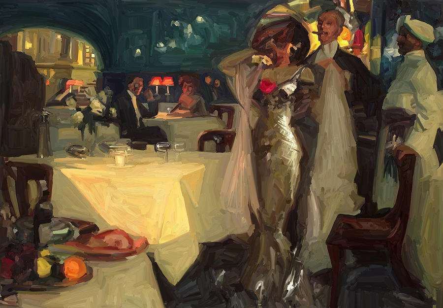 In The Restaurant By Briex After Charles Hoffbauer Painting  - In The Restaurant By Briex After Charles Hoffbauer Fine Art Print