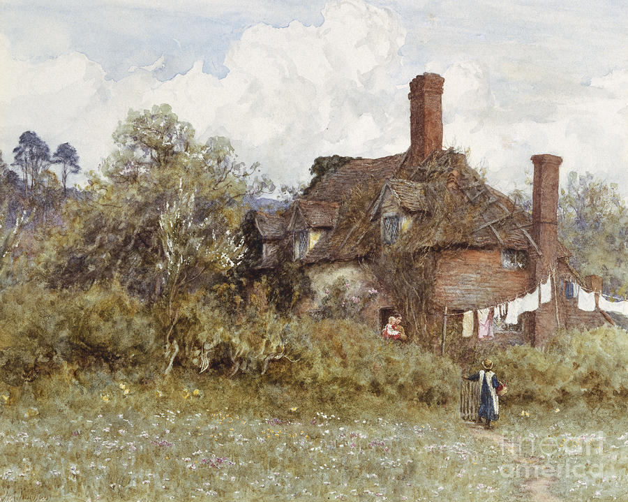 Cottage; Tumbledown; Disrepair; English; Landscape; C19th; C20th; Victorian; Washing; Line; Laundry; Airing Painting - In The Spring by Helen Allingham
