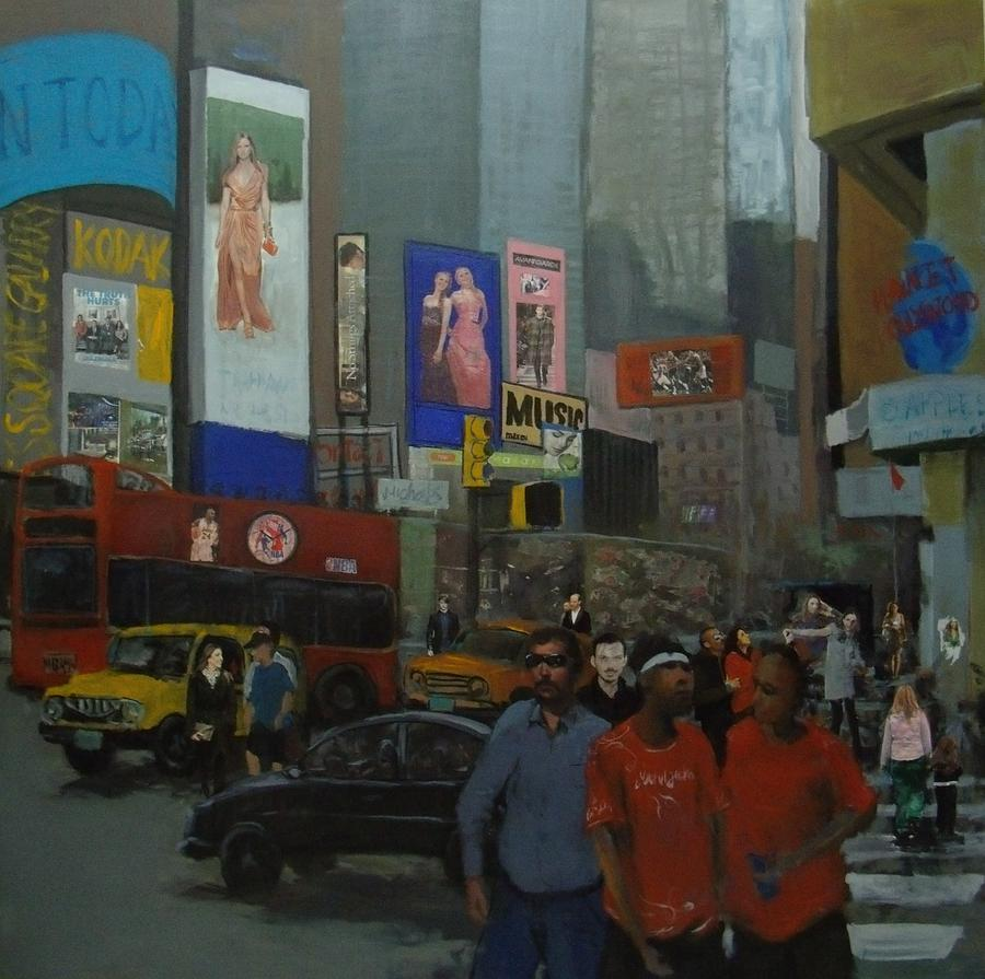 In The Time Square  Mixed Media  - In The Time Square  Fine Art Print