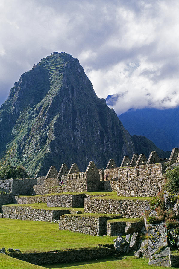 Inca Structures Stand Below Mount Photograph  - Inca Structures Stand Below Mount Fine Art Print