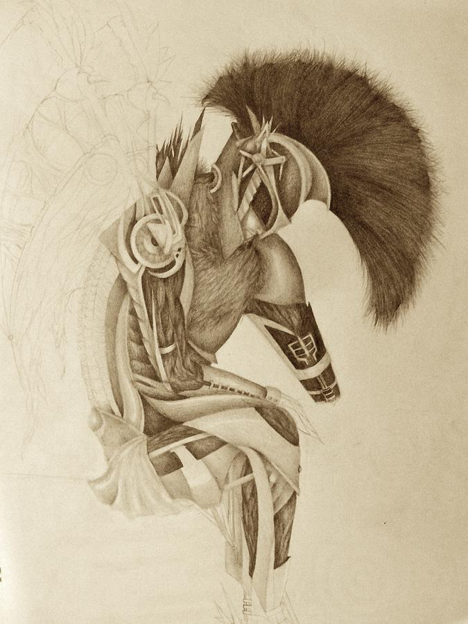 Incomplete Guardian  Drawing  - Incomplete Guardian  Fine Art Print