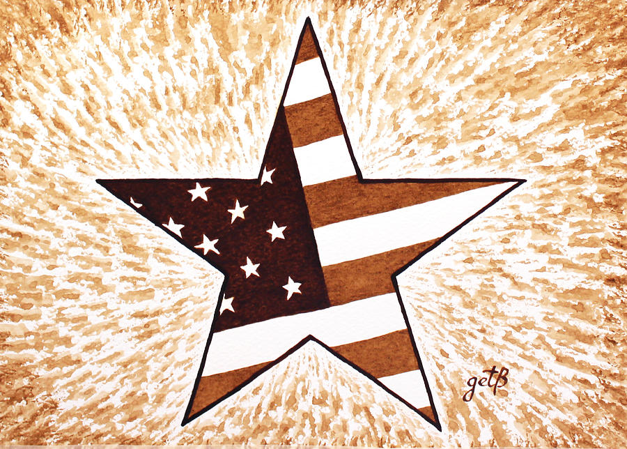 Independence Day Star Usa Flag Coffee Painting Painting  - Independence Day Star Usa Flag Coffee Painting Fine Art Print